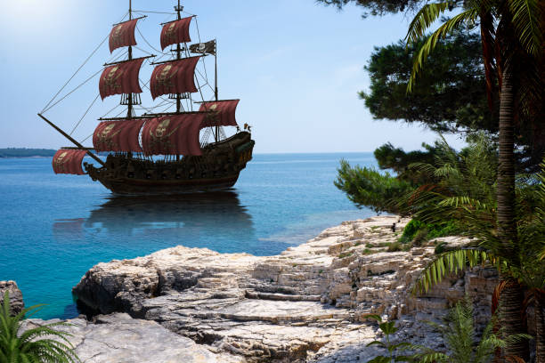Vintage Pirate Ship to go Anchor Vintage pirate ship to go anchor in a natural Caribbean harbor to seek refuge from British warships, photo with 3d render illustration elements pirate criminal stock pictures, royalty-free photos & images