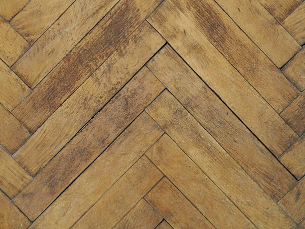 Vintage plain wooden parquet floor stock photo