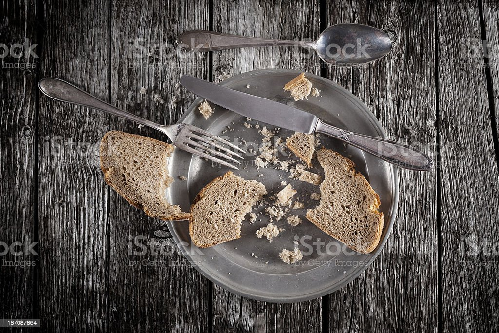 Vintage plate and silverware royalty-free stock photo