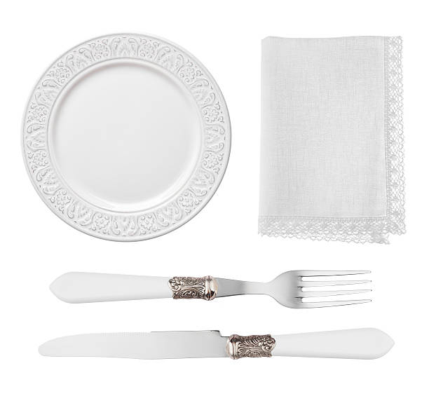 vintage plate, knife, fork and napkin isolated on white background - vintage spitze stock-fotos und bilder