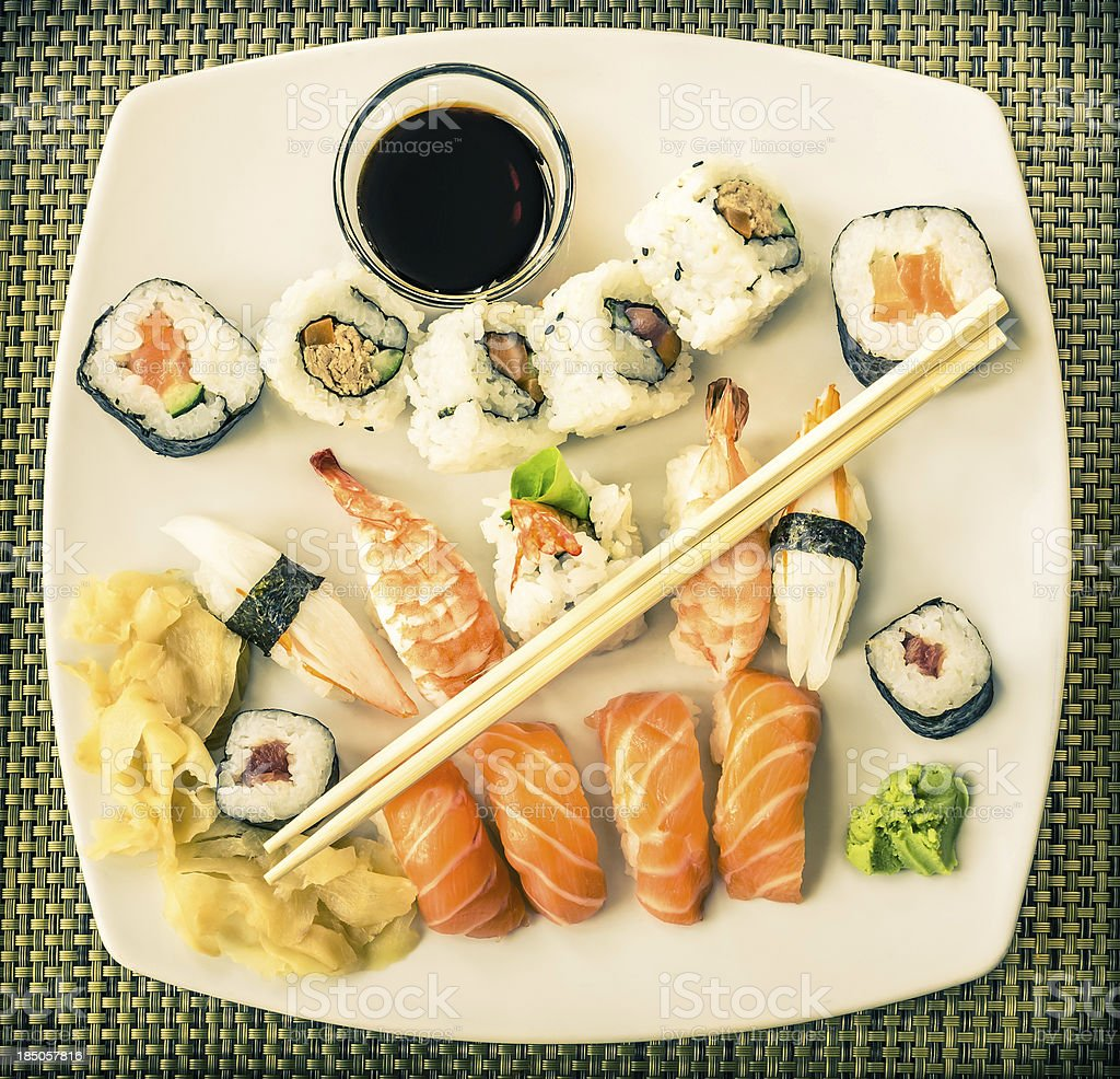 Vintage Plate of Sushi royalty-free stock photo