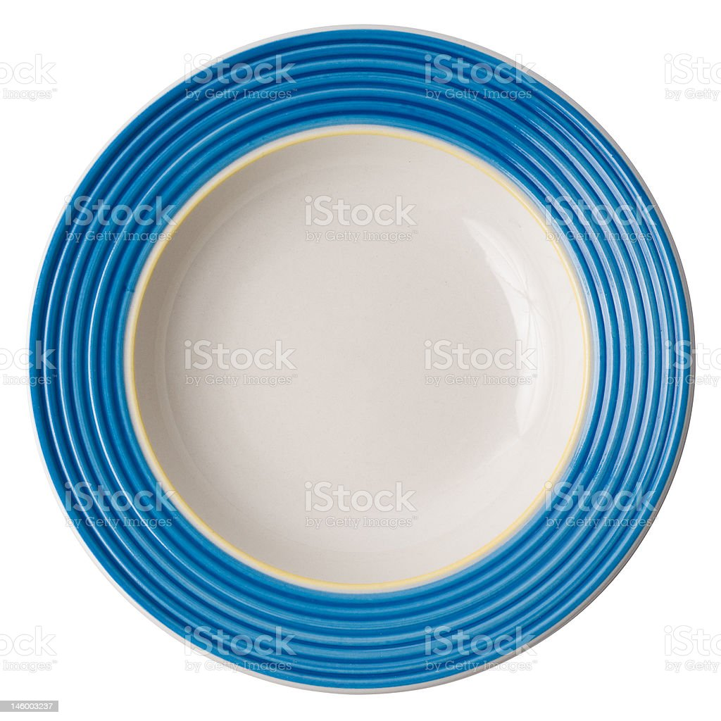 vintage plate (isolated, with clipping path) stock photo