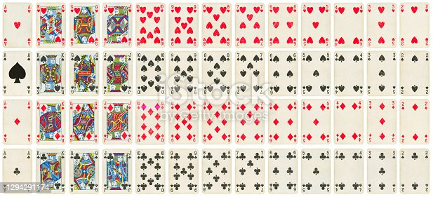 Vintage playing cards full deck - isolated on white
