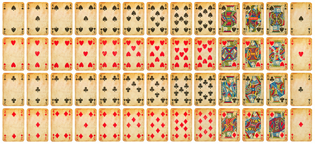Vintage playing cards full deck - isolated