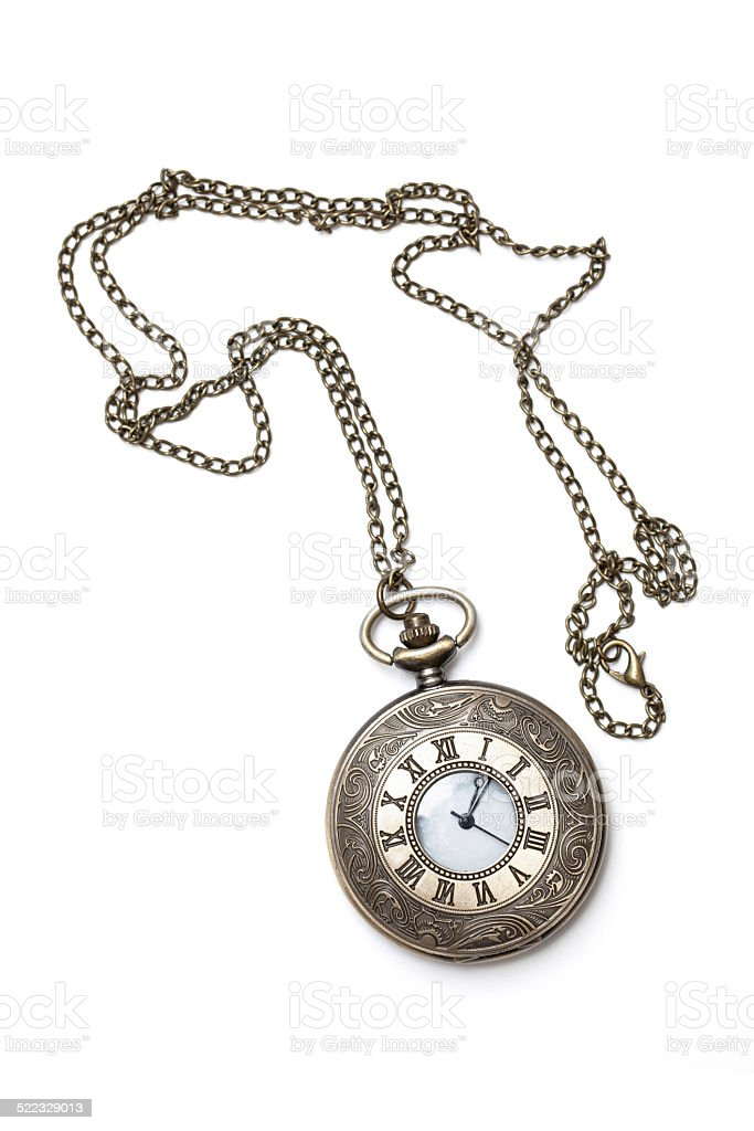 Vintage pocket watch isolated on white background stock photo