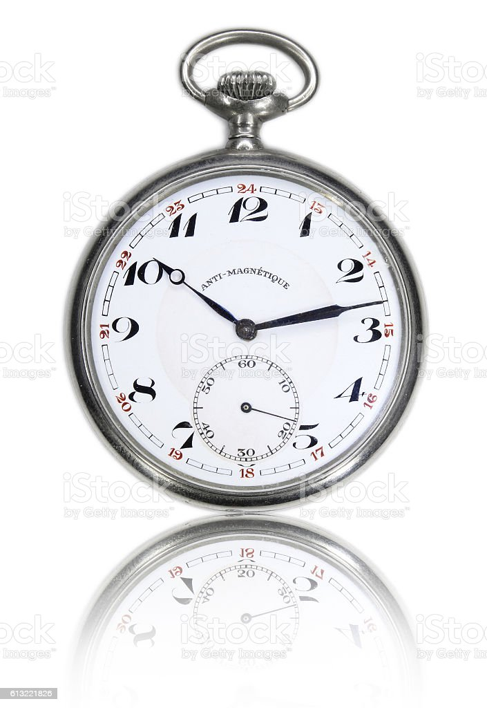 Vintage pocket watch mirrored stock photo