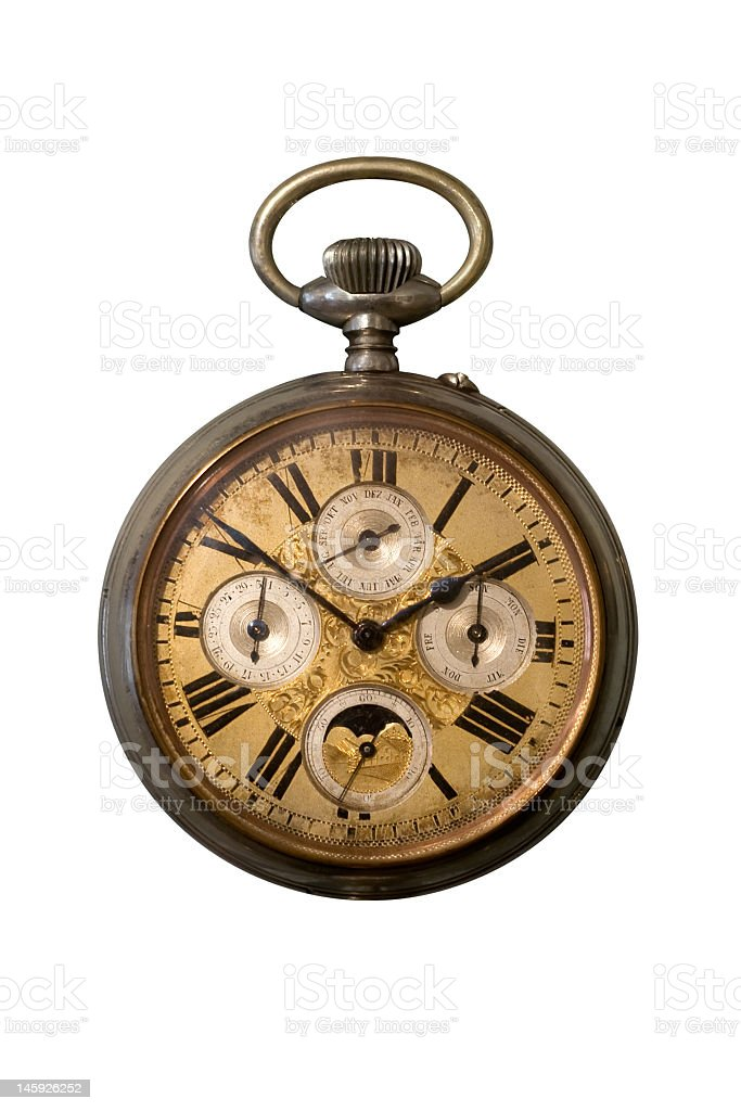 Vintage pocket watch on white background stock photo