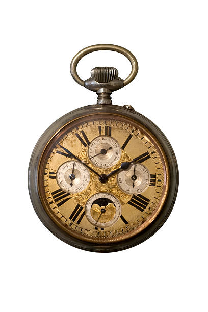 vintage pocket watch on white background - antique stock pictures, royalty-free photos & images