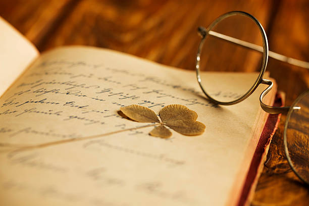 Vintage Poetry and eyeglasses stock photo