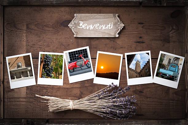 Cornice per foto Polaroid vintage con foto dall'Italia - foto stock