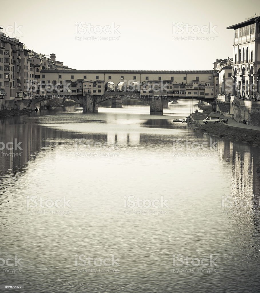Vintage Ponte Vecchio Bridge over River Arno in Florence, Italy royalty-free stock photo