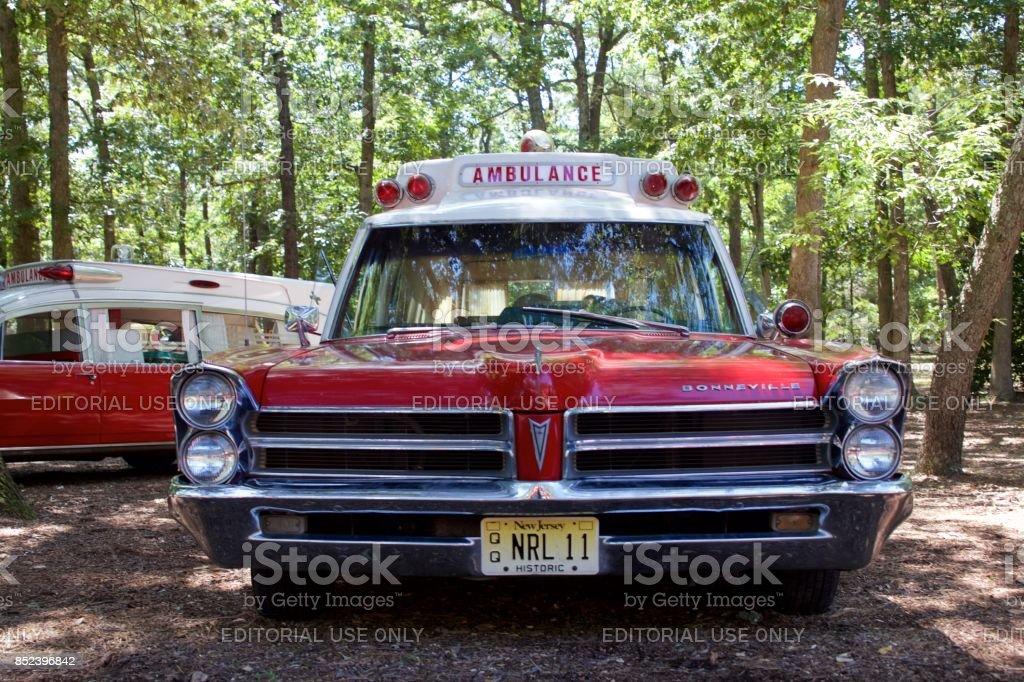 Vintage Pontiac Bonneville ambulance stock photo