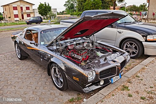 vintage American sports car Pontiac Firebird Trans Am Ram Air with open engine hood in rally of classic and custom cars