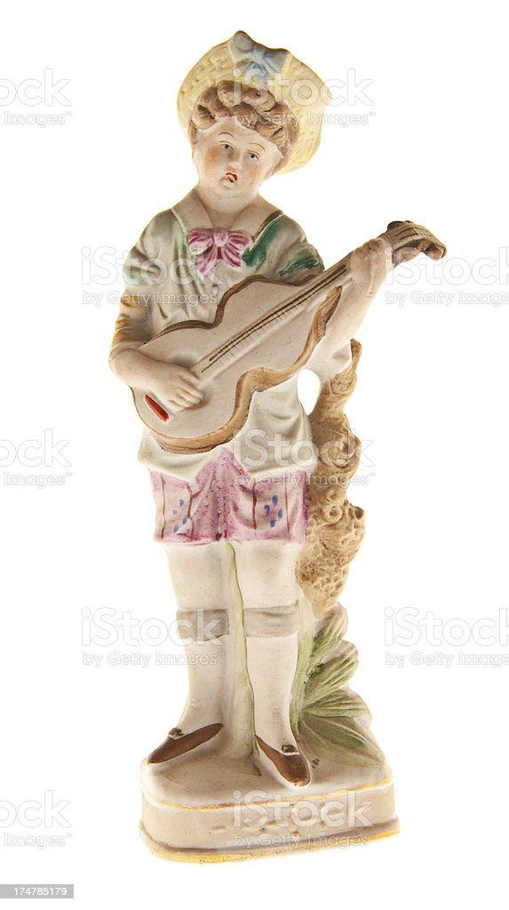Vintage Porcelane Lute Player Figurine stock photo