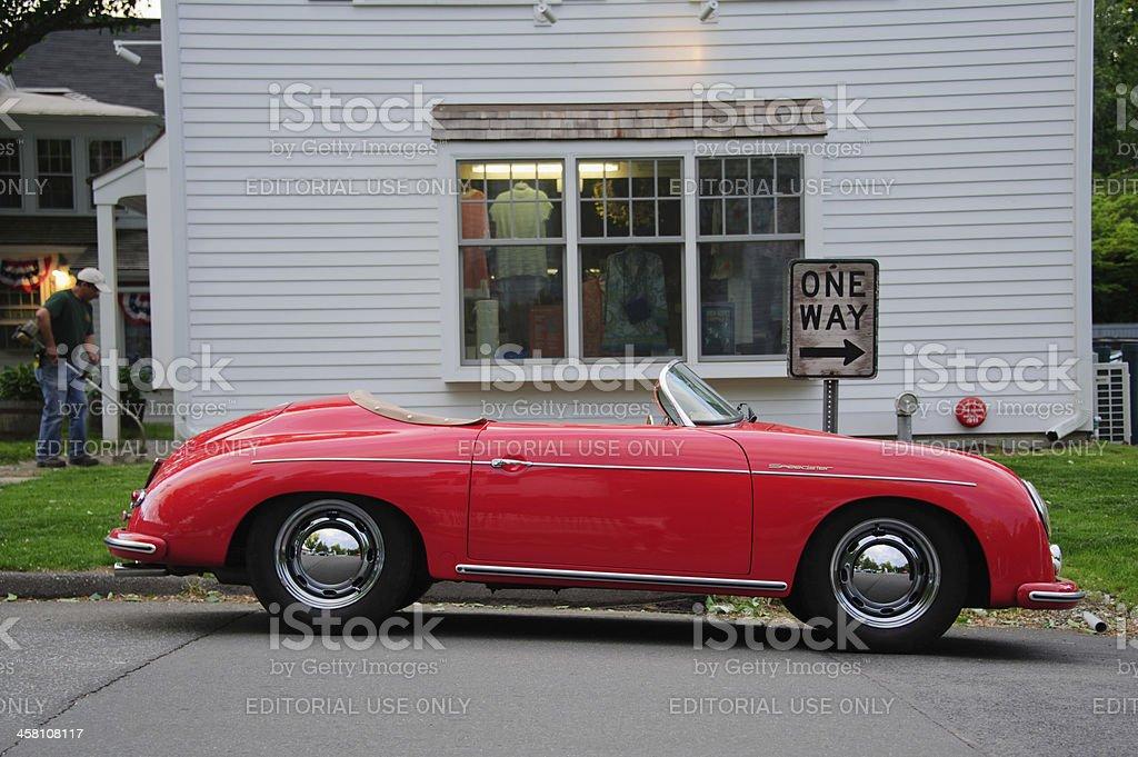 Vintage Porsche 1600 Super Speedster & One Way Sign (776) stock photo