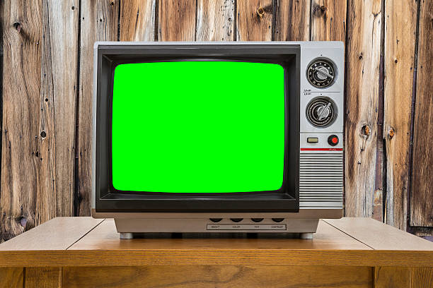 Vintage Portable Television with Chroma Green Screen stock photo