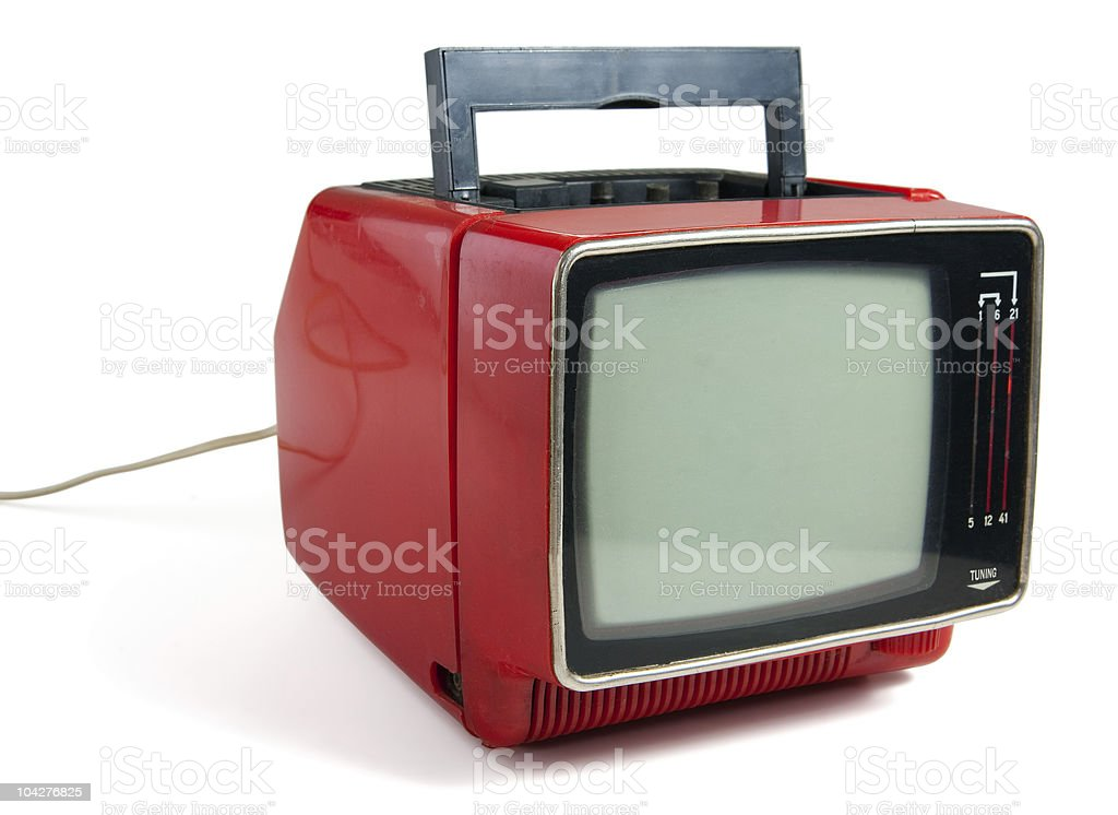Vintage portable tv stock photo