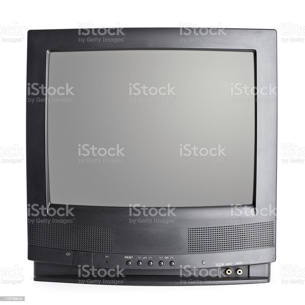 Vintage portable TV set isolated on white stock photo