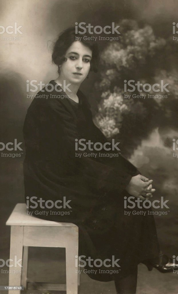 Vintage Portrait of a Lady royalty-free stock photo