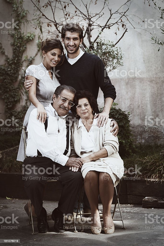 Vintage portrait of a typical Italian family royalty-free stock photo