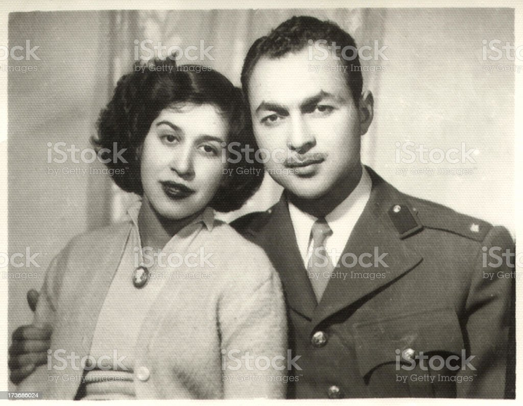 Vintage Portrait of a Young Couple royalty-free stock photo