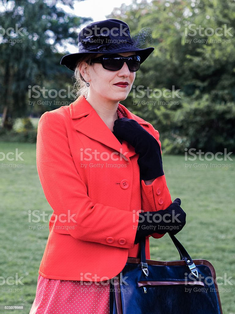 Vintage portrait of an old- fashioned attractive woman stock photo