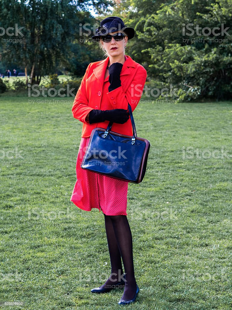 Vintage portrait of an old-fashioned attractive woman stock photo