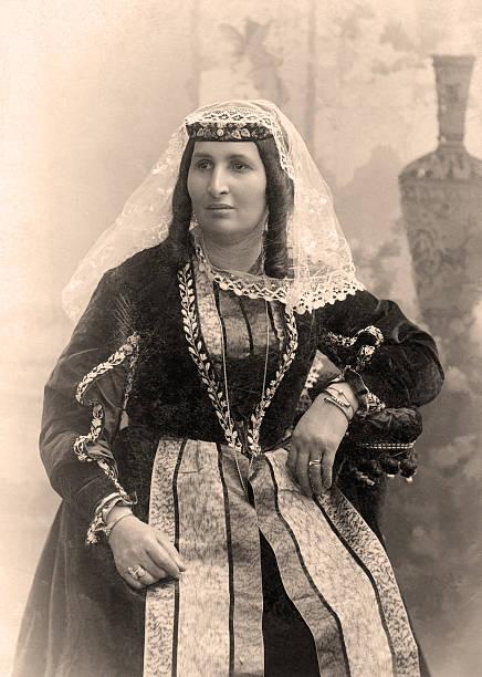 Vintage portrait. Old photo of young Armenian woman, Russia,1908 year. armenian ethnicity stock pictures, royalty-free photos & images