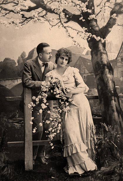 Vintage portrait Portrait of a victorian man and his wife. edwardian style stock pictures, royalty-free photos & images