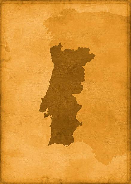 vintage mapa de portugal - portugal map imagens e fotografias de stock