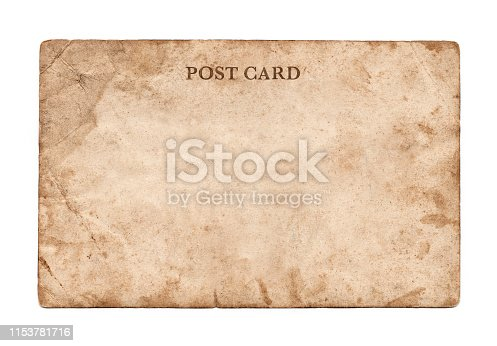 istock Vintage post card on white background 1153781716