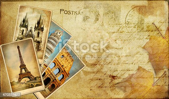istock Vintage Post Cards Background 470331622