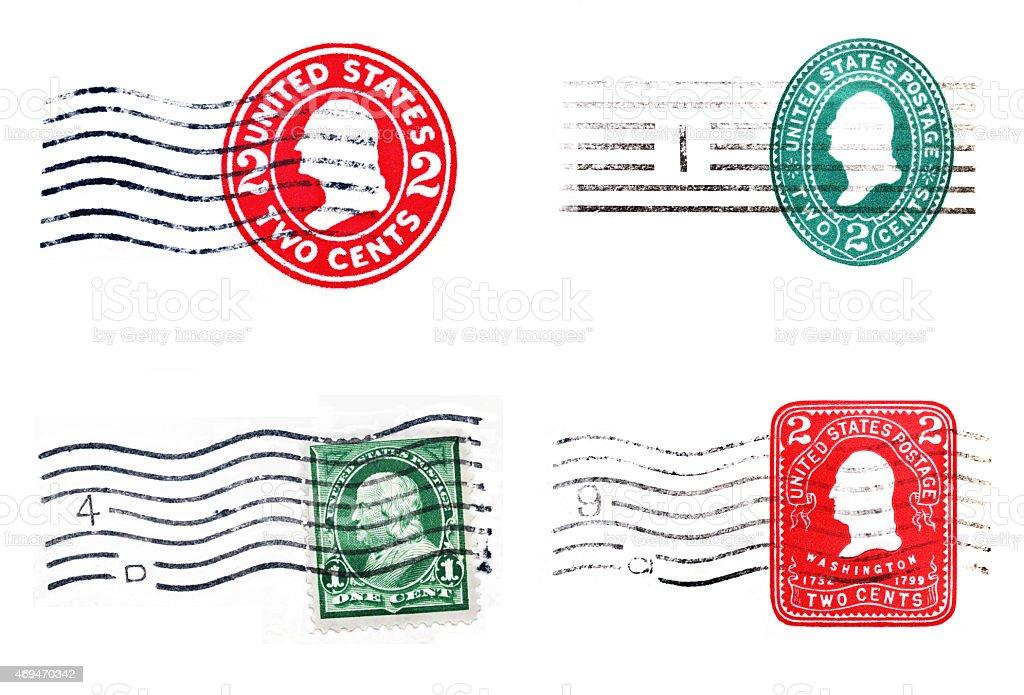 Vintage postage and postmarks stock photo