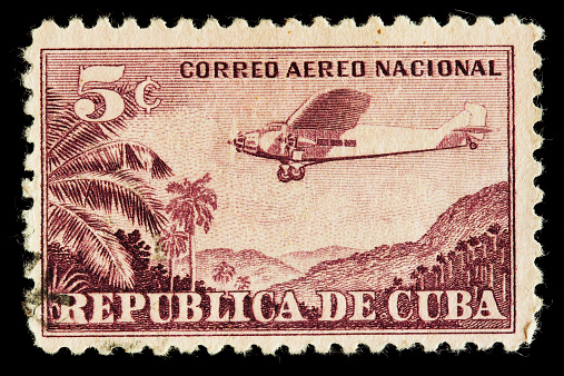 Close-up of vintage postage stamp from Cuba