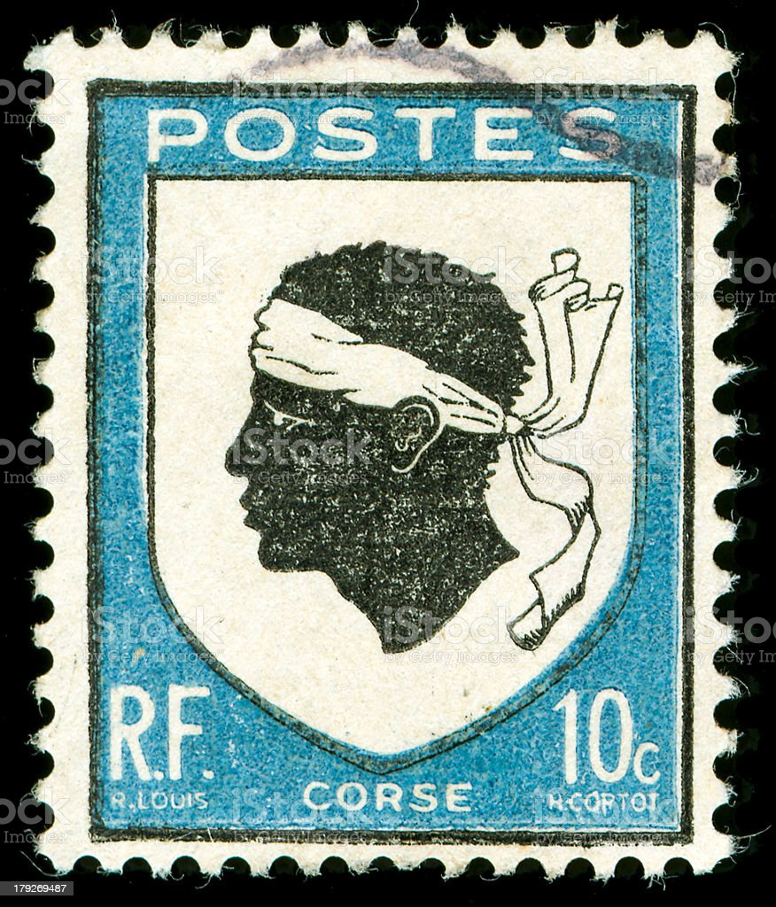 vintage postage stamp with corsica national emblem royalty-free stock photo