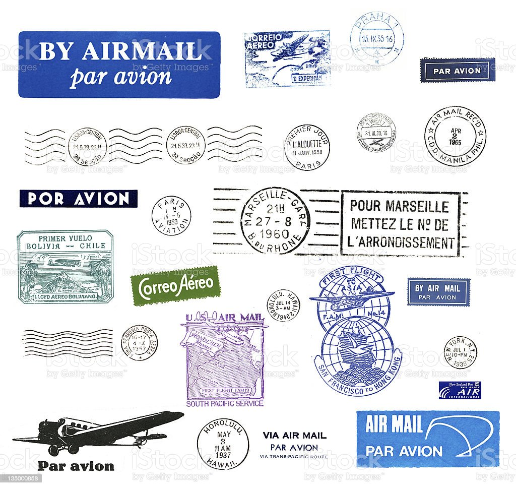 Vintage postage stamps royalty-free stock photo
