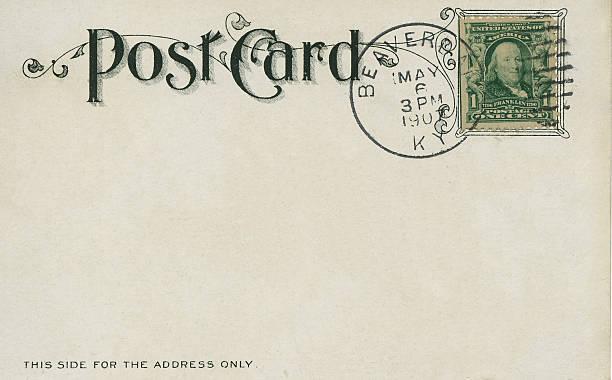 vintage postal 1907 - postal worker fotografías e imágenes de stock