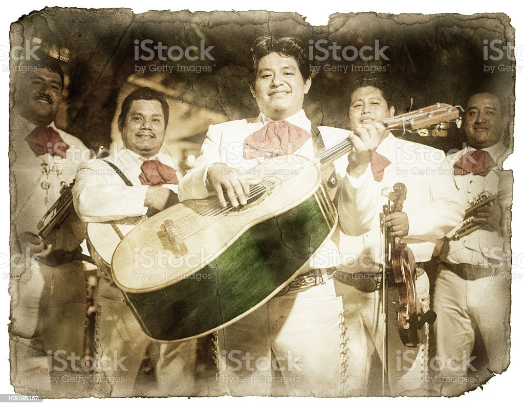 Vintage Postcard of a Mariachi Band (XXL, Clipping Path) stock photo
