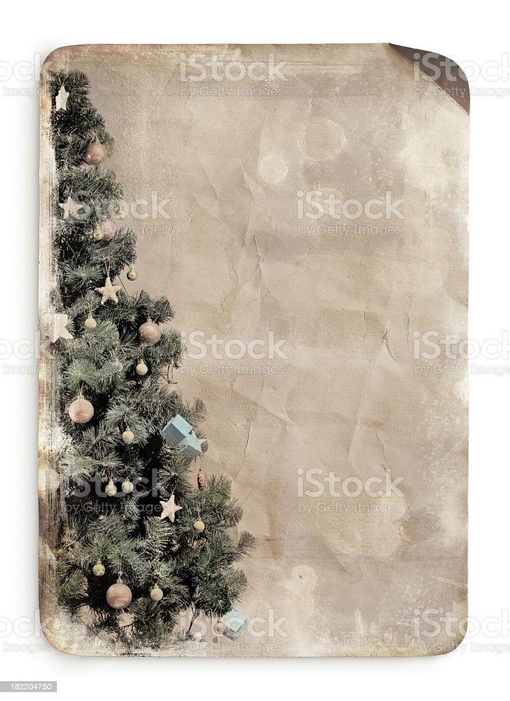 Vintage postcard of christmas tree royalty-free stock photo