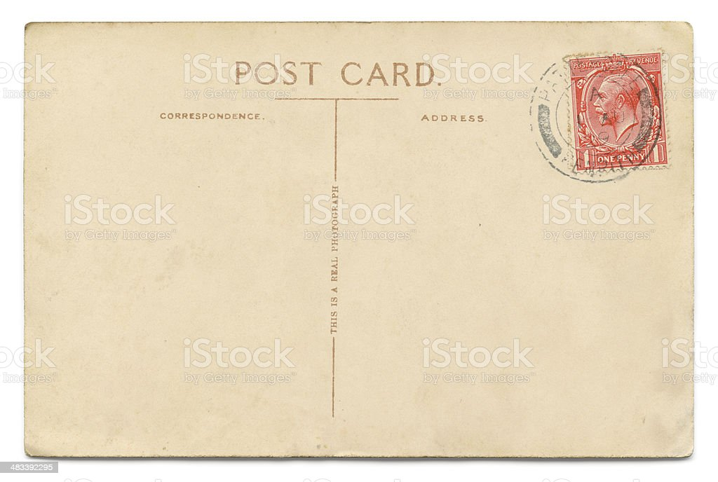 Vintage postcard on white stock photo