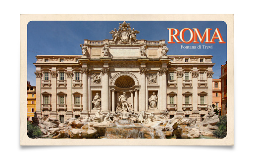 Rome, Italy, Trevi Fountain: old travel vintage postcard with 60' and 70' design style. Isolated on white background with clipping path (path excludes shadow).