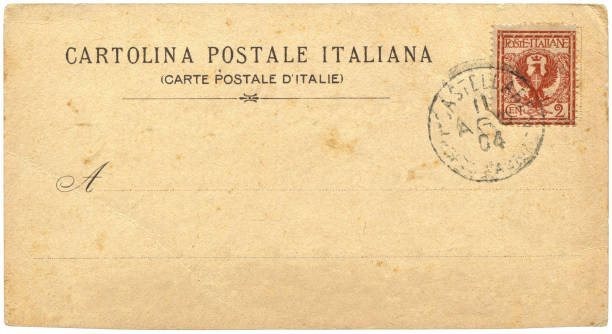 Vintage postcard sent from Castellare, Italy in early 1900s, a very good background for any usage of the historic postcard communications. stock photo