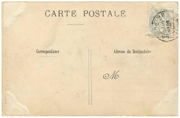 Vintage postcard sent from La Chatre, France in early 1900s, a very good background for any usage of the historic postcard communications. stock photo