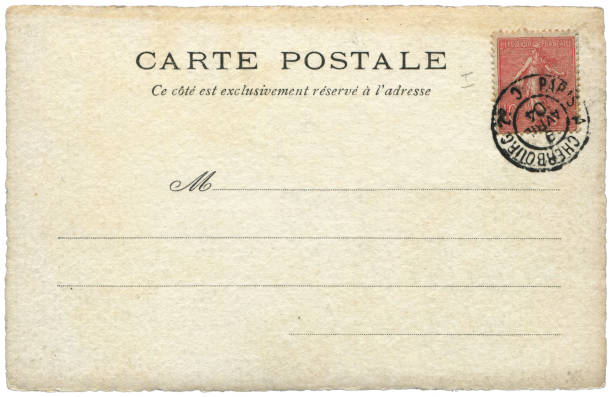 Vintage postcard sent from paris, France in early 1900s, a very good background for any usage of the historic postcard communications. stock photo
