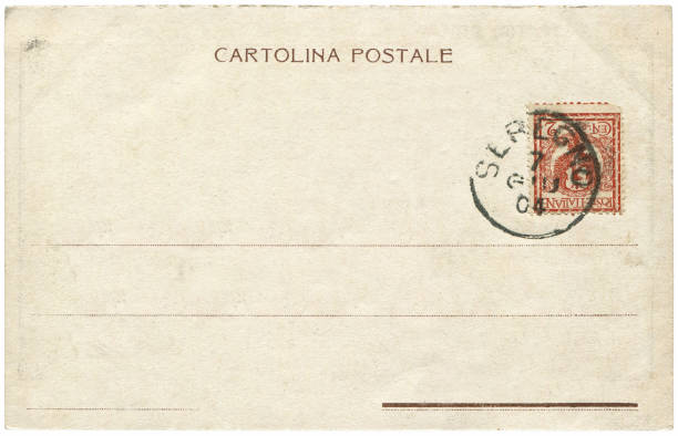 Vintage postcard sent from Seregno, Italy in early 1900s, a very good background for any usage of the historic postcard communications. stock photo