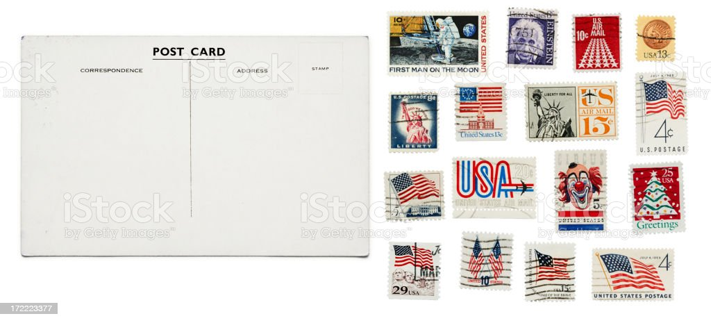 Vintage postcard + stamps royalty-free stock photo