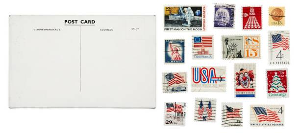 Vintage postcard + stamps stock photo