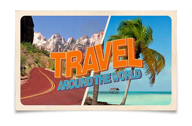 vintage cartão postal: viagem em todo o mundo - viagens anos 70 imagens e fotografias de stock