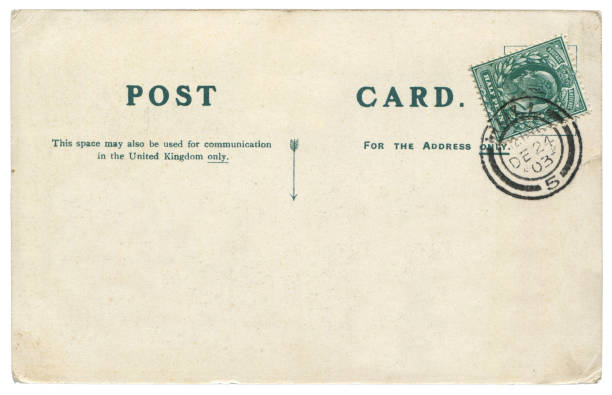 vintage postcard with blank content sent from hull, britian in 1903, a very good background for any usage of the historic postcard communications. - rubber stamp texture stock photos and pictures