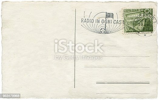 istock vintage postcard with blank content sent from Switzerland in 1952 953479968